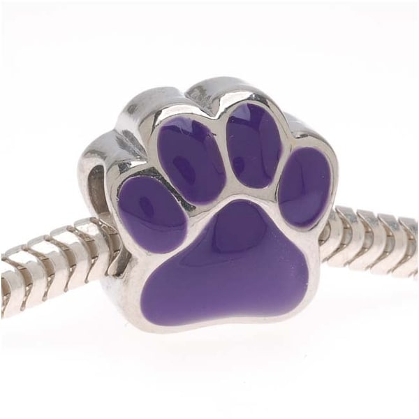 Silver Tone With Purple Enamel Large Hole Paw Print European Style Bead (1)