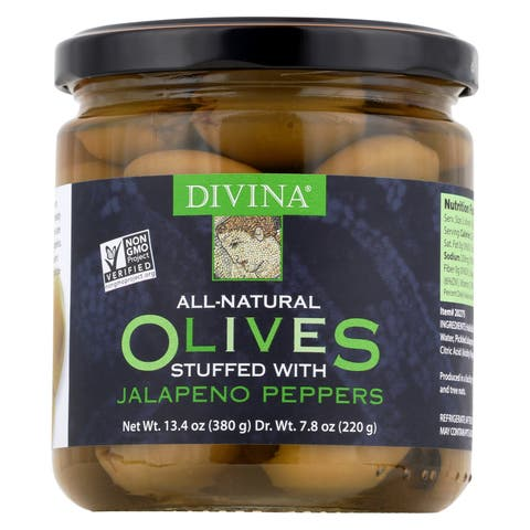 Divina Green Olives Stuffed with Jalapeno Peppers - Case of 6 - 7.8 oz.