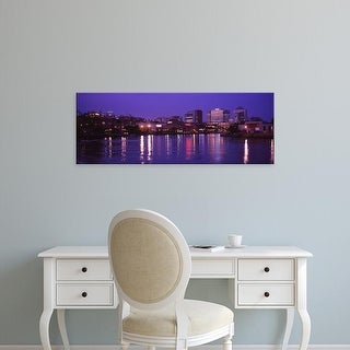 Easy Art Prints Panoramic Images's 'Buildings lit up at night, Wilmington, Delaware, USA' Premium Canvas Art