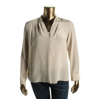 Calvin Klein Womens Blouse V-Neck Silk