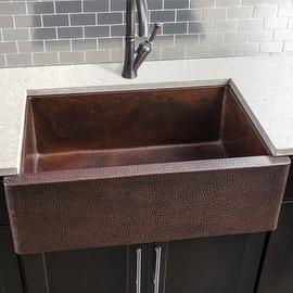 """Miseno MC3322F 33"""" Single Basin Copper Farmhouse Kitchen Sink"""