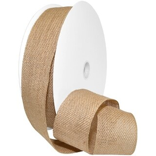 "Burlap Wired Ribbon 2.5""X50yds-Natural"