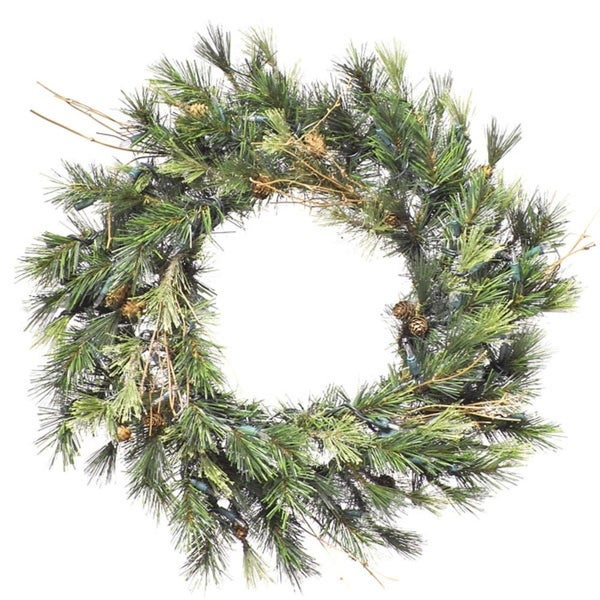 "16"" Pre-Lit Mixed Country Pine Artificial Christmas Wreath - Clear Dura Lights - green"