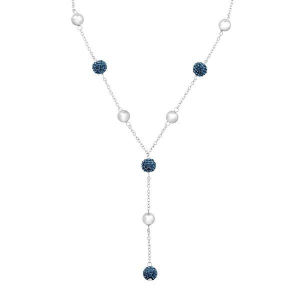 Crystaluxe Lariat Necklace with Montana Blue Swarovski Crystals in Sterling Silver