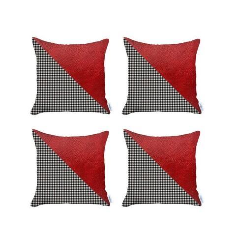 Boho-Chic DecorativeVeganFaux Leather Pillow Covers 4 PCS