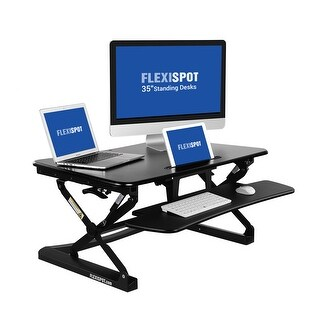 "FlexiSpot Standing Desk - 35"" wide platform Height Adjustable Stand up Desk Riser with Quick Release Keyboard Tray (M2B-M-BLACK)"