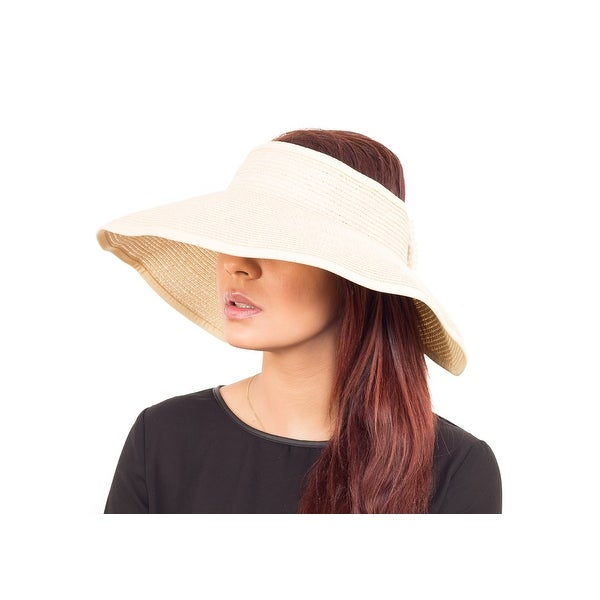 Fashion Wide Brim Visor Style Straw Summer Beach Hat Adjustable, White