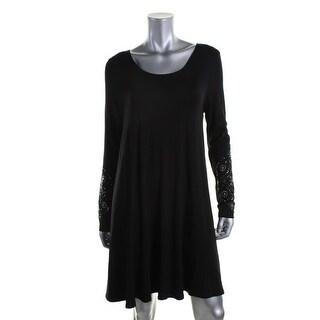 Karen Kane Womens Rhinestone Long Sleeves Wear to Work Dress