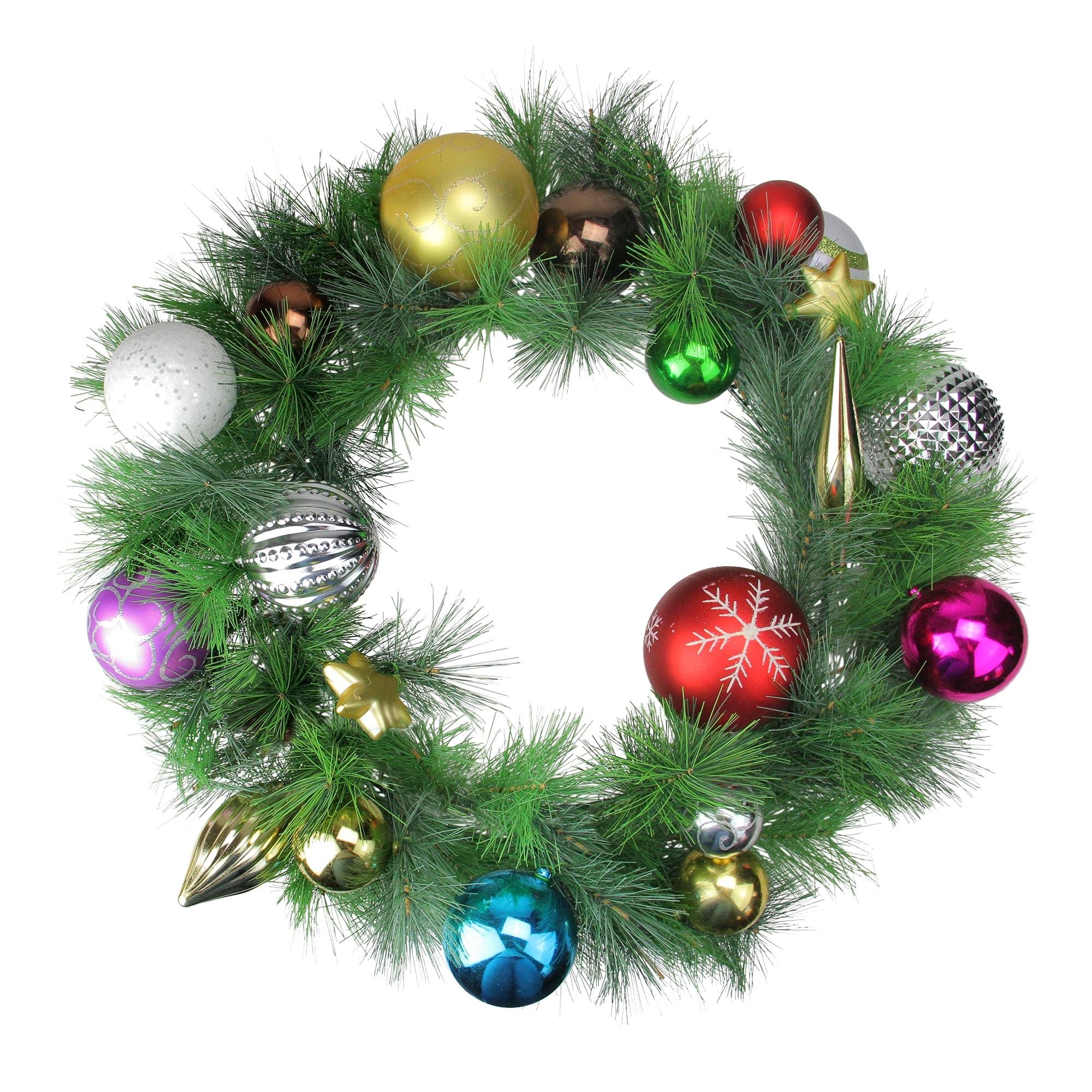24 Multi Color Ornament Long Needle Pine Artificial Christmas Wreath Unlit Multi Overstock 16542217