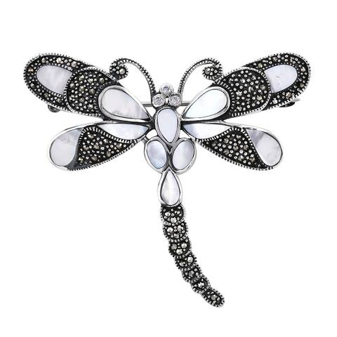 White Shell Pearl White Zircon Brooch Silver Sliver Wt. 9.2 g 5.91 ctw
