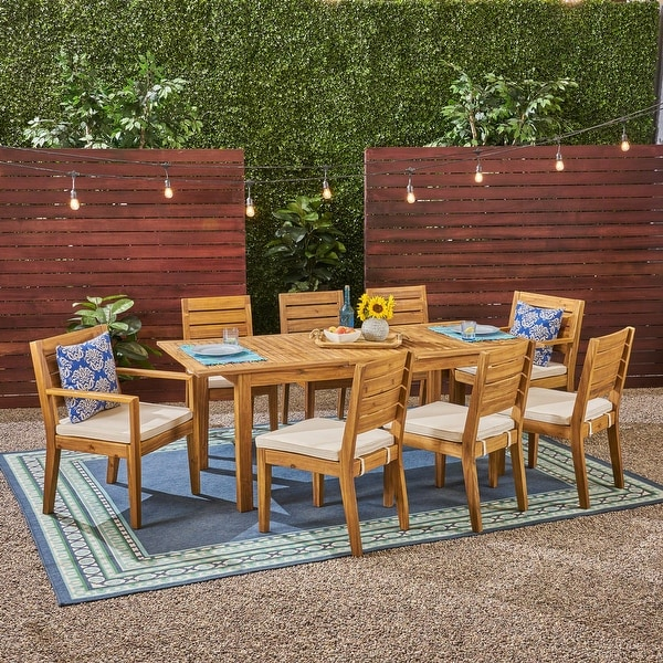 Nestor Outdoor 6-Seater Acacia Wood Expandable Dining Set by Christopher Knight Home. Opens flyout.