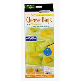 "Kole Forever Cheese 10 Reusable 9"" x 12"" Bags Countertop Display - YELLOW"
