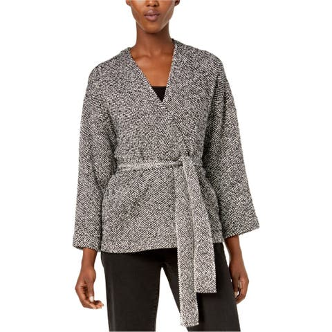 Eileen Fisher Womens Belted Jacket, Black, Large