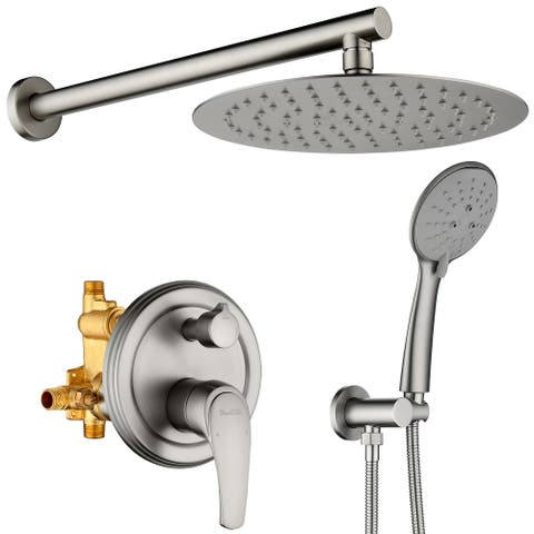 """5 Spray Patterns with 2.3 GPM 10 in. Wall Mount Dual Shower Heads with Valve Included - 10"""""""