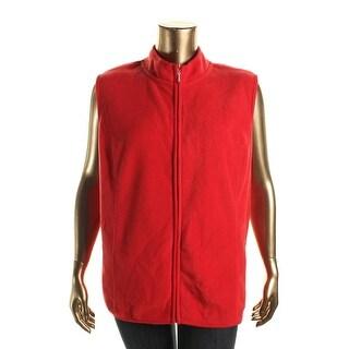 Karen Scott Womens Plus Fleece Zip-Front Casual Vest