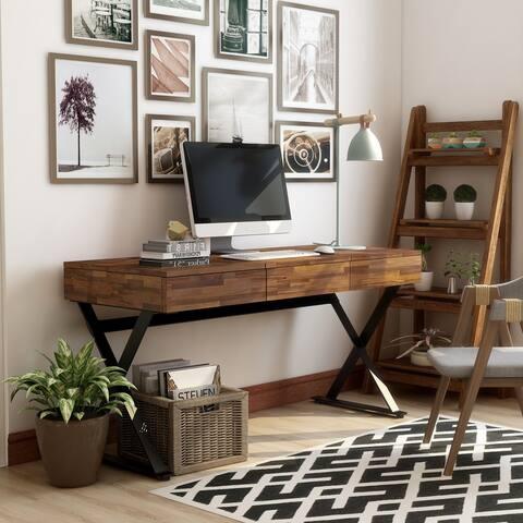 Furniture of America Vae Industrial Black Metal 3-drawer Desk