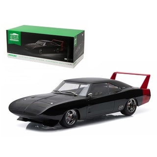 1969 Dodge Charger Daytona Custom Black With Red Rear Wing 1/18 Diecast  Model Car