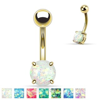 Synthetic Opal Glitter Prong Set Gold IP Over 316L Surgical Steel Belly Button Rings