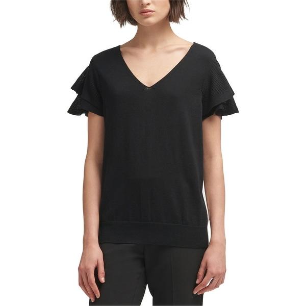 DKNY Womens Side Stripe Basic T-Shirt, Black, Large. Opens flyout.