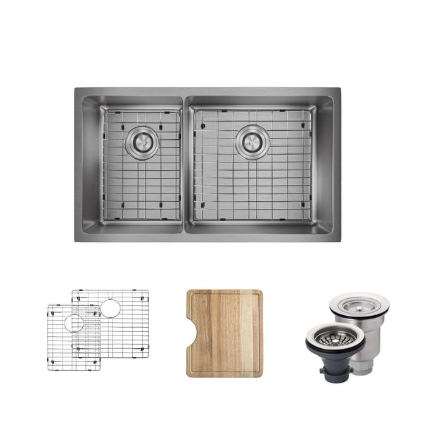 "Rene R1-1037R 31-1/8"" Double Basin Stainless Steel Kitchen Sink - Basin Rack, Basket Strainer, and Cutting Board Included"