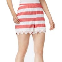 Kensie NEW Red White Women's Size XS Crochet Lace Trim Striped Shorts
