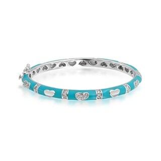 Bling Jewelry Blue Enamel Kids Bangle Bracelet CZ Pave Heart 5in Silver Plated