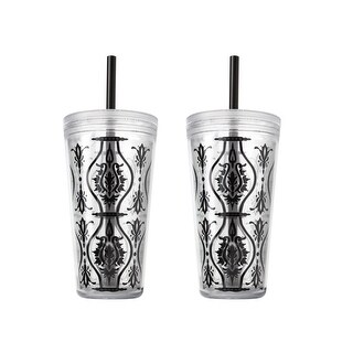 2 Pack Copco Minimus Tumbler With Removable Straw Double Wall Insulation - BPA Free Plastic 24 Oz - Damask Black - Damask Black