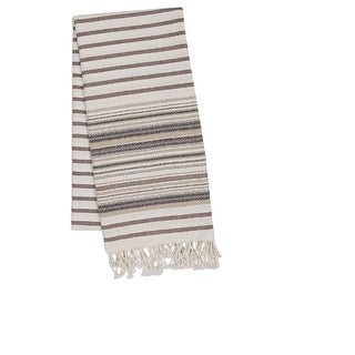Decorative and Multi-Functional French Taupe Stripe Oversized Fouta Towel or Throw with Fringe 78""
