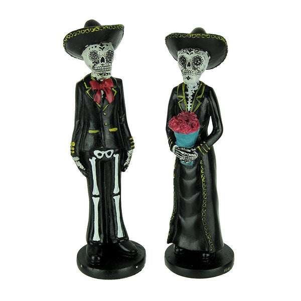 Day of the Dead Mariachi Calavera Couple Statue Set - 8.5 X 2.5 X 2.5 inches