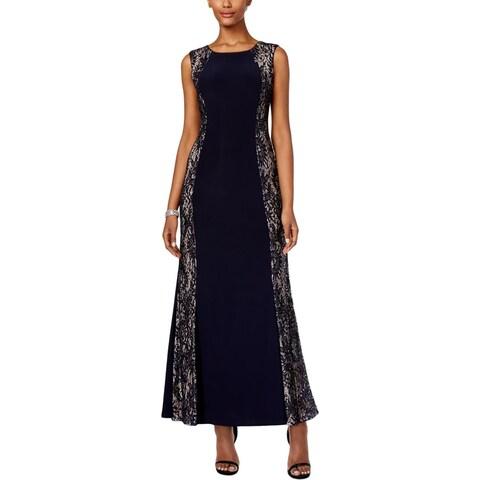 R&M Richards Womens Petites Evening Dress Lace Panel Sequined