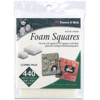 """3D Foam Squares Combo Pack-White (352) .25"""" & (88) .5"""" 440/Pkg - White"""