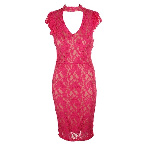 Xoxo Juniors Pini Cap-Sleeve Lace Choker Bodycon Dress S