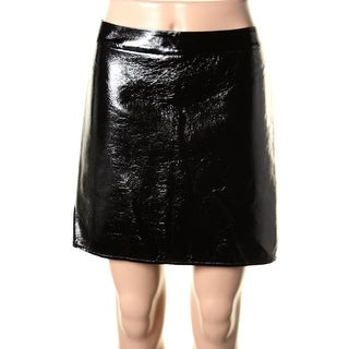 Guess Womens Faux Leather High Shine Mini Skirt - 2