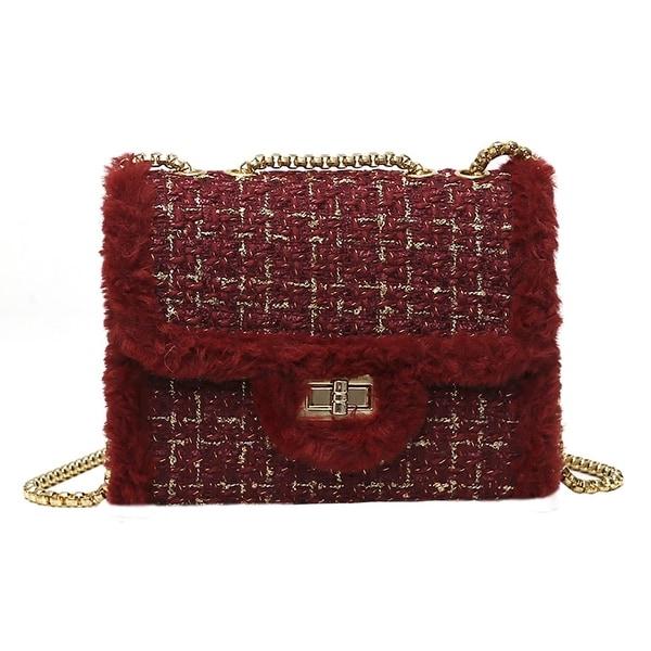 22fcaae2313 QZUnique Women  x27 s Faux Fur Weave Envelope Shoulder Bag Chain Handbag  Plaid Crossbody