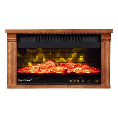 Heat Surge Mini Glo Efficiency Plus Touch HD Widescreen Portable Electric Fireplace Heater, Air Filtration