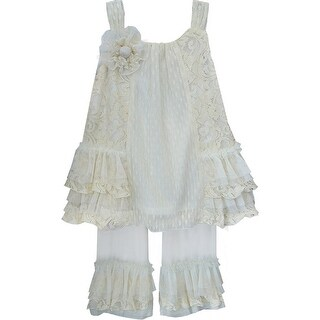 Isobella & Chloe Baby Girls Ivory Parisian Chic Two Piece Pant Outfit Set 6M-24M