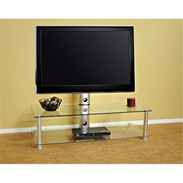 Shop Clear Glass With Silver Aluminum Plasma Lcd Tv Stand With