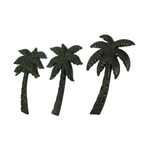 Dark Green Wood Palm Tree Tropical Wall Decor Set Of 3 12 X 8 0 63 Inches