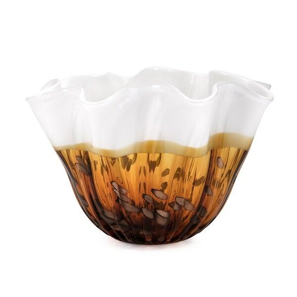 """IMAX Home 47973 Marcella 12 1/2"""" Wide Glass Decorative Bowl - Brown"""
