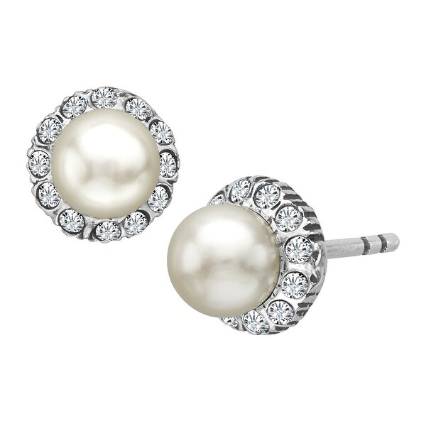 Van Kempen Victorian Simulated Pearl Stud Earrings with Swarovski Crystals in Sterling Silver