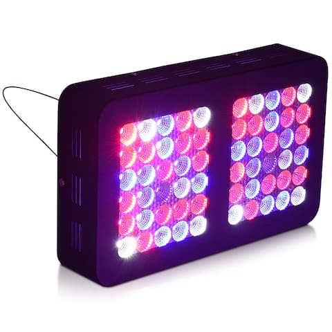 Costway 300W LED Grow Light Plants Lamp Full Spectrum For Indoor Plants Veg Flower Bloom - Black