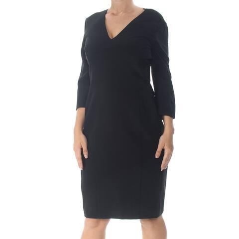 NARCISO RODRIGUEZ Black Long Sleeve Knee Length Shift Dress Size 18
