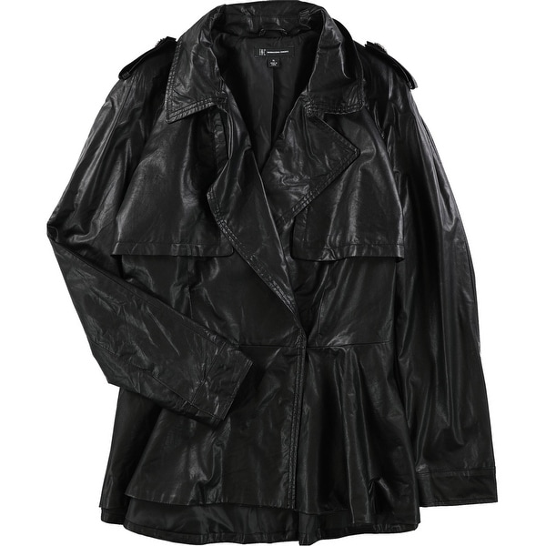 I-N-C Womens Faux Leather Trench Coat, black, X-Large. Opens flyout.