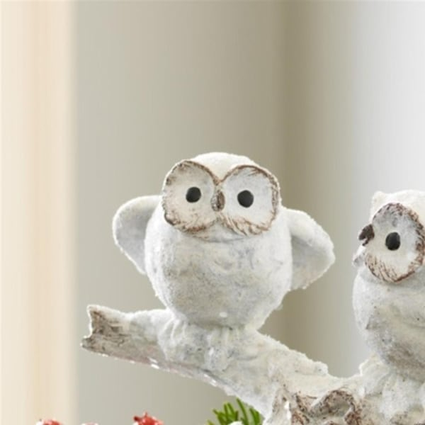 "12"" Snowy Winter Owl Trio Perched on Branch Flocked Table Top Christmas Decoration - WHITE"