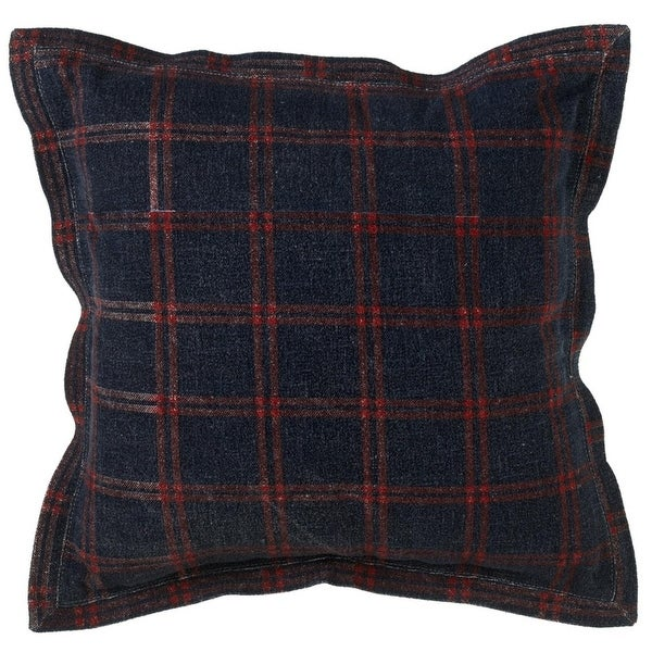 """Set of 2 Red and Blue Plaid Patterned Square Throw Pillows 22"""""""