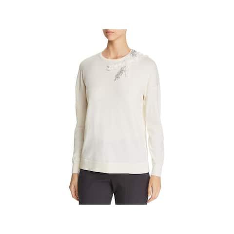 Elie Tahari Womens Pullover Sweater Merino Wool Embellished - Fresh Pearl