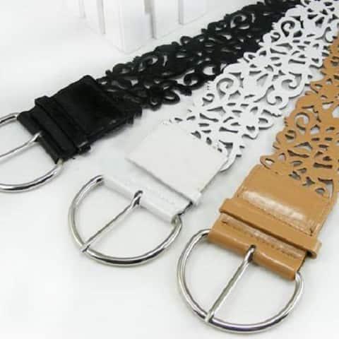 Hot Fashion Lady Wide Hollow Flower Faux Leather Waistband Waist Strap Belt