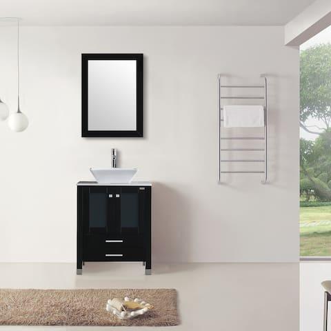 Modern Single Sink Bathroom Vanity Set with Mirror