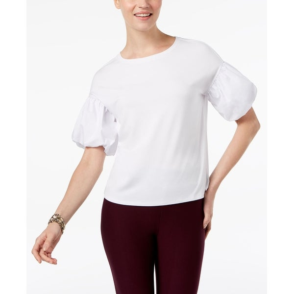 cd1c38b15c1 Shop Cable   Gauge White Women s Size Large L Bubble-Sleeve Tee Knit Top -  On Sale - Free Shipping On Orders Over  45 - Overstock - 26931353