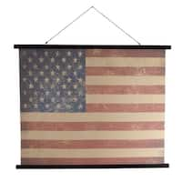 Set of 2 Red, White and Blue Vintage Canvas American Flag Hanging Wall Decor 39""
